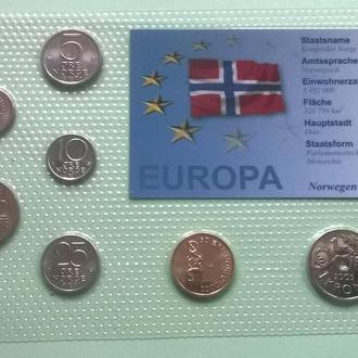 Набор монет НОРВЕГИЯ 1972 - 2003 год а блистер запайка пластик