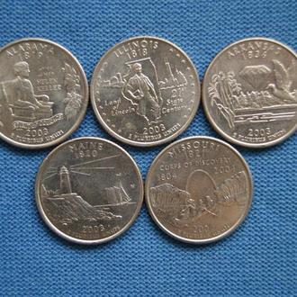 США 25 центов квотер  2003 г  Р  подборка 5 шт