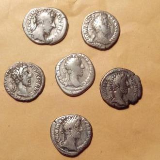 Императора Коммода денарии в разных чеканах 6шт. Рим серебро