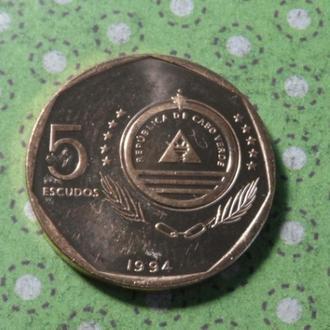 Кабо-Верде монета 5 эскудо 1994 год птица !
