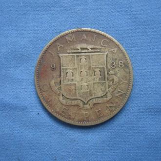 Ямайка 1 пенни 1938 год