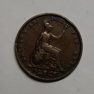 Англия 1 фартинг 1826 г. НЕ ЧАСТЫЙ!!!!!!
