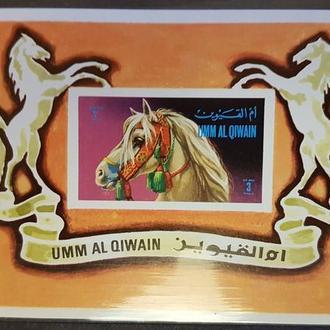 Умм Эль Кайвайн АРАБЫ 1969 фауна лошади цирк БЛОК  Михель = 4,5 евро**