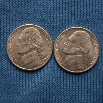 США 5 центов  1999 г   P D   2шт