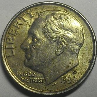США 10 центов 1998 год СОСТОЯНИЕ!!!!