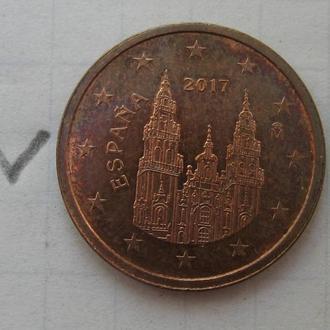 ИСПАНИЯ 2 евроцента 2017 года.