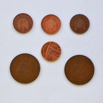 Набор разных монет 1 penny Великобритании