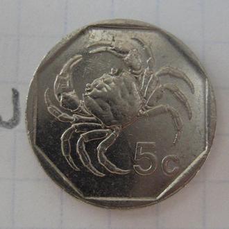 МАЛЬТА. 5 центов 1991 года (КРАБ).