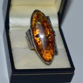 массивное кольцо янтарь mistica joias серебро 925 проба Европа чернение вес 13,16 грамм