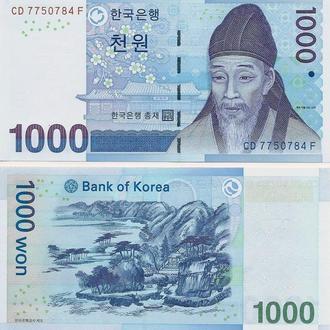 Южная Корея 1000 вон 2007 UNC