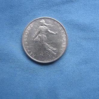 Франция 1/2 франка 1976 год