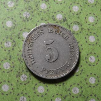 Германия монета 5 пфеннигов 1913 год  Е