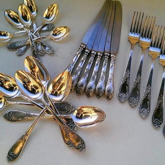 Столовый набор, приборы! Ложки, вилки, ножи. СССР МНЦ Серебрение