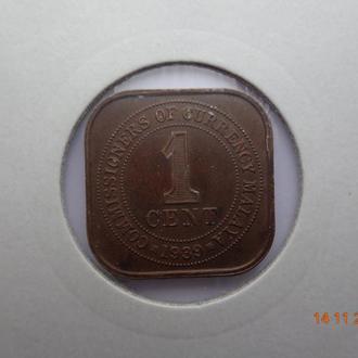 Британская Малайя 1 цент 1939 (KM#2) George VI отличное состояние редкая