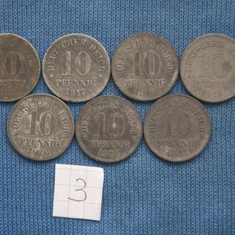Германия  погодовка  10 пфеннигов  1916 г -  1922 г   № 3
