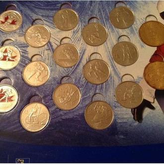 Набор 15 25-центовых монет Канада 2010 Олимпиада в Ванкувере в альбоме