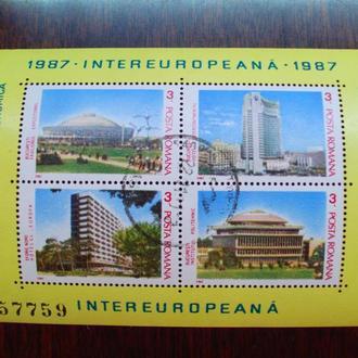 Румыния.1987г. Архитектура Румынии. Почтовый блок с клеем оригинальным.