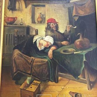 """Картина """"Веселье"""", малые голландцы, Европа."""