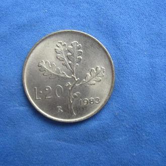 Италия 20 лир 1983 год