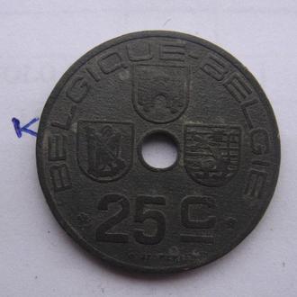 БЕЛЬГИЯ 25 сантимов 1943 г.
