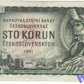 Чехия 100 крон 1993 1961 Р1с. Редкая с маркой