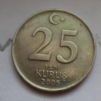 ТУРЦИЯ 25 куруш 2005 года.
