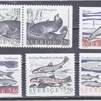 Швеция 1991 РЕЧНЫЕ РЫБЫ ИХТИОЛОГИЯ ФАУНА ПОДВОДНЫЙ МИР ЭКОСИСТЕМА РЫБАЛКА 6м Mi.1646-1654** EUR 5