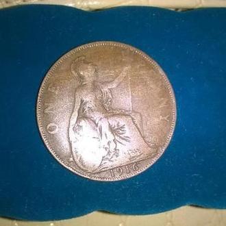 Монета Британия 1 Пенни 1916
