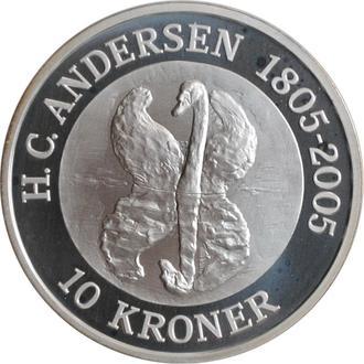 "Дания 10 крон 2005 г., BU, ""Сказка - Гадкий утёнок"""