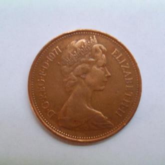 Монета Великобритании 1971г. 2 пенса