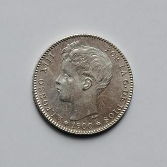 Испания 1 песета 1900 г., UNC, 'Король Альфонсо XIII (1886 - 1931)'