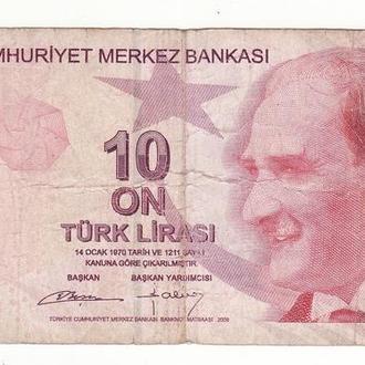 Турция 10 лир 2009 интересный номер. Подпись №2