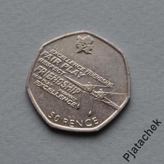 Великобритания 50 пенсов 2011 Олимпиада Лондон. Академическая гребля
