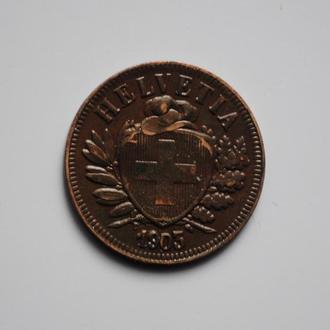 Швейцария 2 раппена 1903 г., XF, РЕДКИЙ ГОД