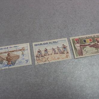 марки Мали 1966 скауты речная рыбалка этнография лот 3 шт №137