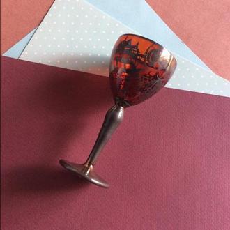 Рюмка, цветное стекло, сувенирная, подарочная
