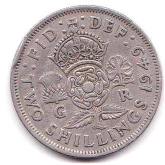 Великобритания 1951 г - 2 шиллинга