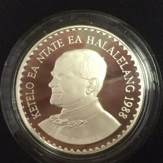 Лесото 10 малоти 1988 года. Папа Римский Иоанн Павел II