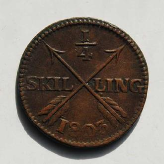 Швеция 1/4 скиллинга 1803 г., 'Король Густав IV Адольф (1792-1809)', РЕДКОЕ СОСТОЯНИЕ