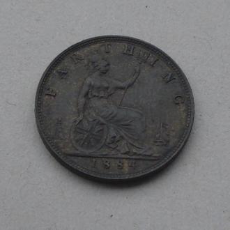1884 г - фартинг Великобритании,UNC