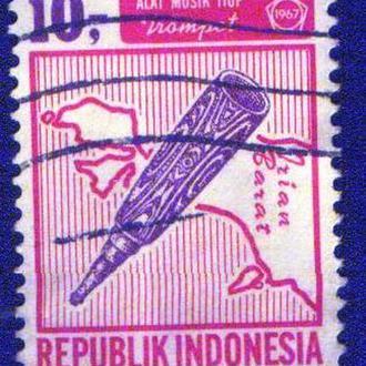 Индонезия (1967) Музыкальные инструменты. Карта Западного Ириана