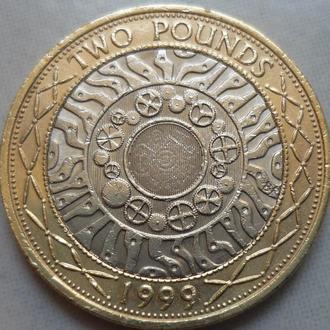 Великобритания 2 фунта 1999 биметалл