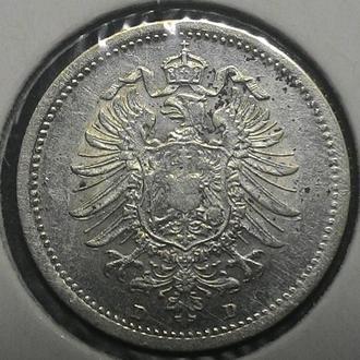 Германия 20 пфеннигов 1874 D год СЕРЕБРО!! НЕ ЧАСТАЯ!!!
