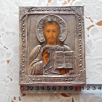 Икона старинная Исус Христос Вседержитель серебрение