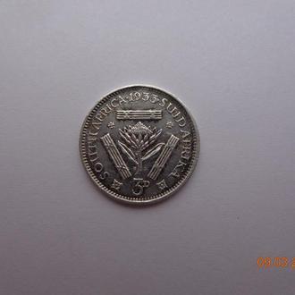 Южная Африка 3 пенса 1933 George V серебро состояние очень редкая