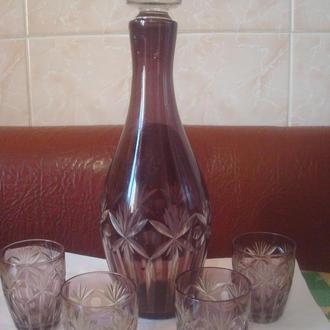 Набор графин и 4 рюмки (марганцевое стекло)