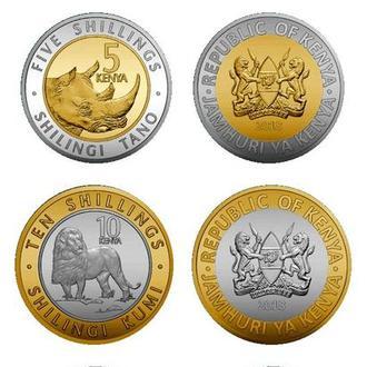 Shantaal, Кения 1, 5, 10 и 20 шиллингов 2018 (жираф, носорог, лев и слон)