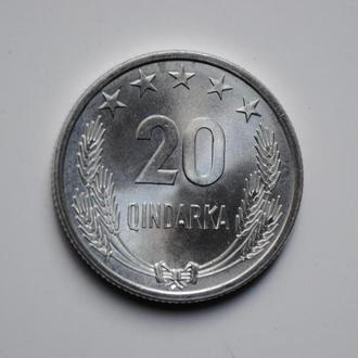 Албания 20 киндарок 1964 г., UNC, 'Народная Республика (1945 - 1991)'