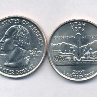 Монеты Америка США  25 центов 2007 г. Юта.