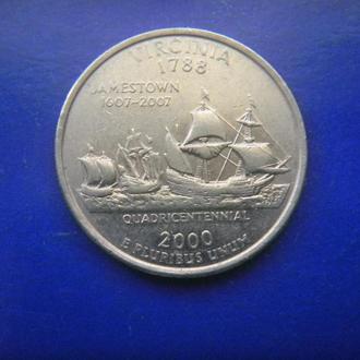 США 25 центов Вирджиния D 2000